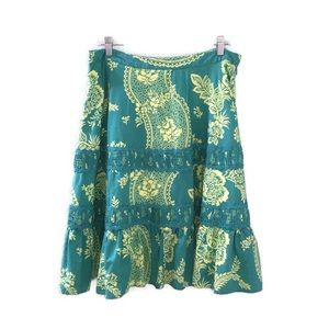 Odille Anthropologie Green Pleated Floral Skirt